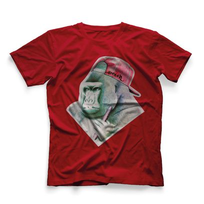 CamisetaMasculinaHookahAddctionGorilaVermelhaPequeno