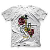 CamisetaMasculinaHookahAddctionArguileBrancaPequeno
