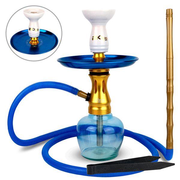 Narguile-Completo-Pequeno-Legacy-Flush-Plus-Com-Base-Ninja-Jumbinho---Setup-Flush-Plus-22-Azul-com-Dourado